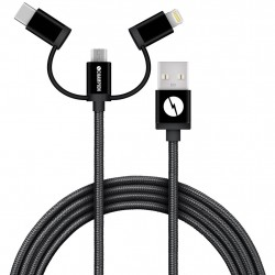 Champion USB Kabel 3-in-1 USB-C/Micro-USB/Lightning 1,5m Black Champion 3-in-1 Cable 856649 Champion 295,00 kr