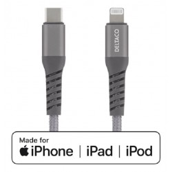 DELTACO USB-C To Lightning 1m Braided, USB 2.0, Space Grey