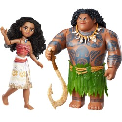 2-Pack Disney Vaiana/Moana Maui The Demigod Doll/Figure Poseable 28cm