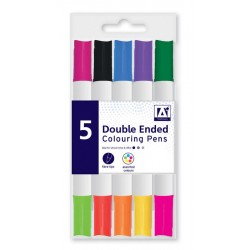 5-Pack Double Ended Fibre Tip Colouring Pens Markers