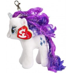 TY Sparkle My Little Pony Clip Rarity Unicorn Key Clip Soft Plush 11cm