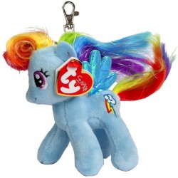 TY Sparkle My Little Pony Clip Rainbow Dash Unicorn Key Clip Pehmo 11cm