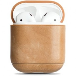 Krusell Apple Airpod Leather Case Fodral Vintage Light Brown
