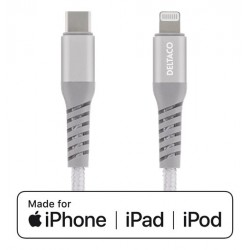 DELTACO USB-C To Lightning 1m Braided, USB 2.0, Silver