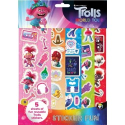 Trolls 2 Sticker Fun Set Children Reusable Stickers