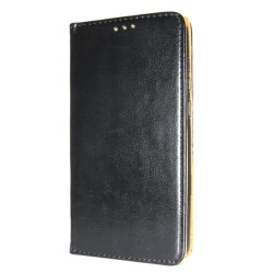 Genuine Leather Book Slim LG K20 (2019) Cover Black Nahkakotelo Lompakkokotelo
