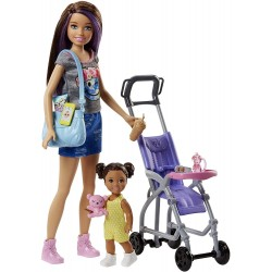 Barbie Family Babysitter Brunette Doll With Baby And Accessories