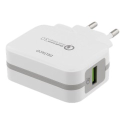 DELTACO Charger 5V USB Qualcomm Quick Charge 3.0 19.5W White
