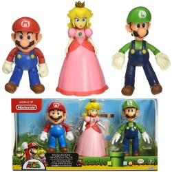Super Mario 3-Pack Mushroom Kingdom Playset Poseable Figures 10-12cm