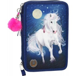 Miss Melody Light-UP Horse 43-pieces Penaaleita Triple Set Pencil Case With LED