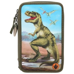 Dino World Light-UP T-REX 43-pieces Triple Set Pencil Case With LED