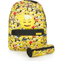 Emoji Backpack School Bag 40x30x10cm + Pencil Case