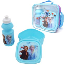 Disney Frozen Shoulder Bag With Lunch Box And Water Bottle Blue