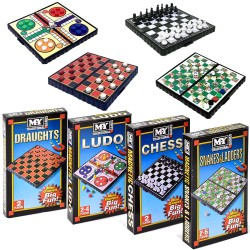 4-Pack Magnetic Compact Mini Travel Games Ludo Draughts Snakes Chess.