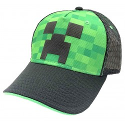 Minecraft Cap Lippis Green With Motif Of Creep On Front One Size
