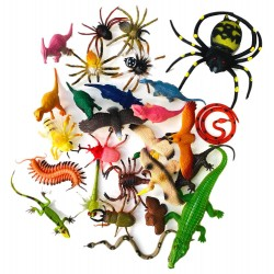 65pcs Toy Animals Insects Dinosaurs Reptiles Birds Spiders 5-20cm Figures