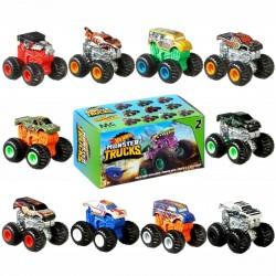 4-Pack Hot Wheels Monster Trucks Minis With Launcher & Stickers 4cm