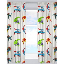 Marvel Comics Avengers Grey Character Ready Made Curtains 168cm x 183cm